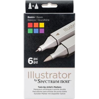Crafter's Companion - Spectrum Noir marqueurs à l'alcool série «Illustrator Twin Tip» couleurs «Basics»
