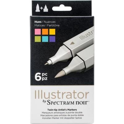 Crafter's Companion - Spectrum Noir marqueurs à l'alcool série «Illustrator Twin Tip» couleurs «Hues»