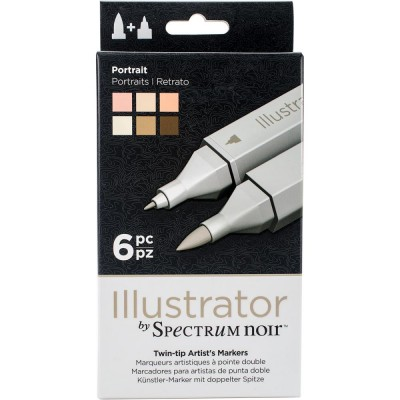 Crafter's Companion - Spectrum Noir marqueurs à l'alcool série «Illustrator Twin Tip» couleurs «Portrait»