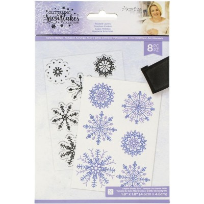 Crafter's Companion - Estampes «Glittering Snowflakes» modèle «Frosted Layers» 8 pcs