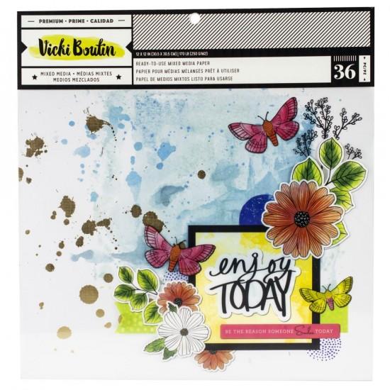"""Vicki Boutin - Ensemble de papier «Mixed Media Backgrounds» 12""""X12""""  36 pages"""