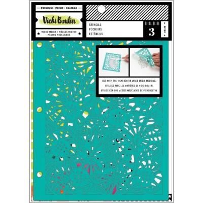 """Vicki Boutin - Stencil 6"""" X 8.5"""" modèle «Botanical» paquet de 3"""