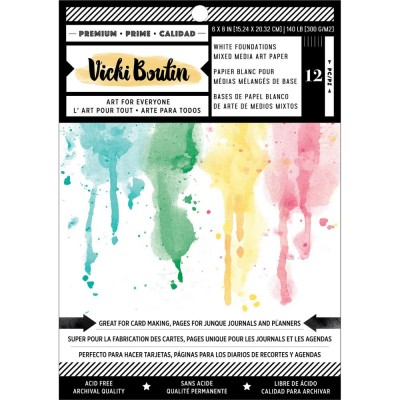 "Vicki Boutin - Ensemble de papier blanc «Mixed Media Backgrounds» 6"" X 8""  12 pages"