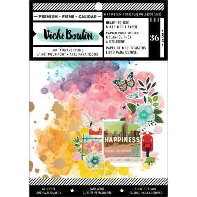 """Vicki Boutin - Ensemble de papier «Mixed Media Backgrounds-Let'sWander» 6 x 8""""  36 pages"""