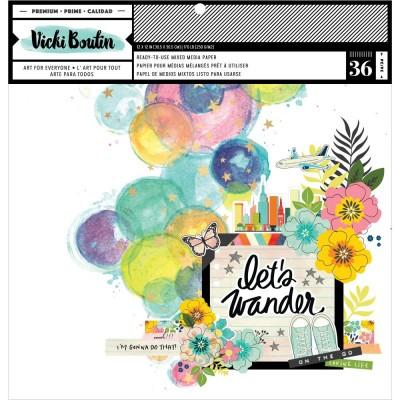 """Vicki Boutin - Ensemble de papier «Mixed Media Backgrounds-Let'sWander» 12""""X12""""  36 pages"""