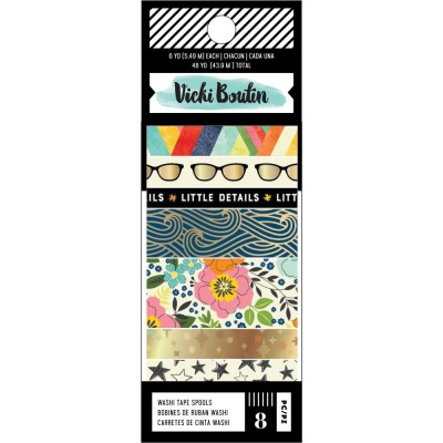 Vicki Boutin - Ensemble de washi tape collection «Let's wander» 8 rouleaux
