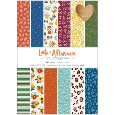 "American Crafts - Ensemble de papier «Late afternoon» 6 ""X 8"" recto 36 feuilles / Pqt"