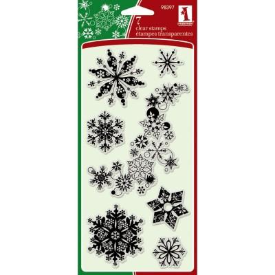 Inkadinkado - Estampes transparentes «Snowflakes A-Plenty» paquet de 6
