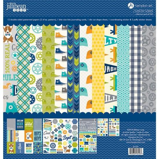"""Jillibea Soup - «2 Cool For School» ensemble de papier 12 feuilles 12"""" X 12"""""""