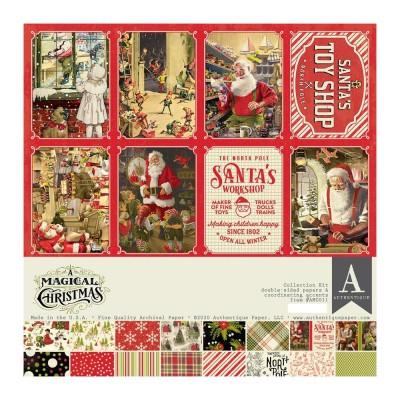 """Authentique - Bloc de papier 12"""" X 12"""" double face «A Magical Christmas» 16 feuilles"""