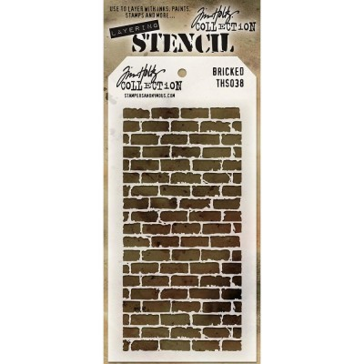 "Tim Holtz - Layered Stencil «Bricked»  4.125"" X 8.5"""