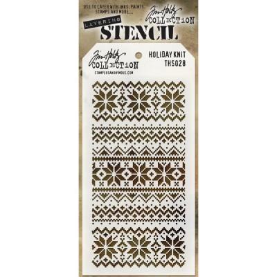 "Tim Holtz - Layered Stencil «Holiday Knit» 4.125"" X 8.5"""