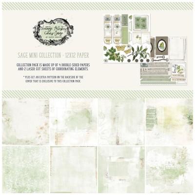 """49& Market - bloc de papier collection «Vintage Artistry Sage» 12 x 12"""" 4 feuilles"""