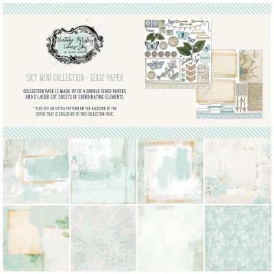 """49& Market - bloc de papier collection «Vintage Artistry Sky» 12 x 12"""" 4 feuilles"""