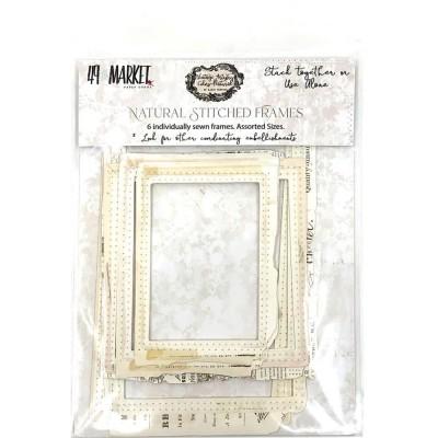 49& Market - Éphéméras «Vintage Artistry Natural Stitch Frame » 6 pièces
