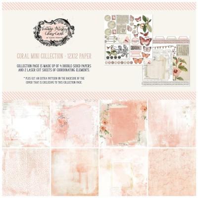 """49& Market - bloc de papier collection «Vintage Artistry Coral» 12 x 12"""" 4 feuilles"""