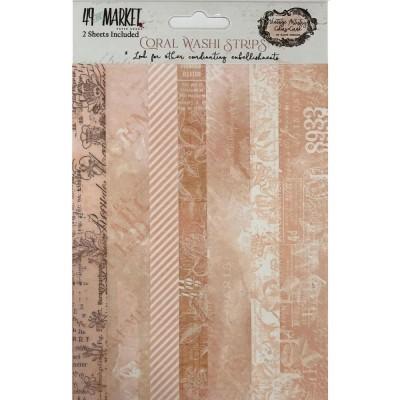 PRÉCOMMANDE - 49 & Market - Ensemble de washi strips collection «Vintage Artistry Coral»