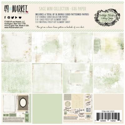 """49& Market - bloc de papier collection «Vintage Artistry Sage» 6 X 6"""" 16 feuilles"""