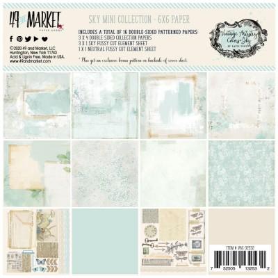 """49& Market - bloc de papier collection «Vintage Artistry Sky» 6 X 6"""" 16 feuilles"""