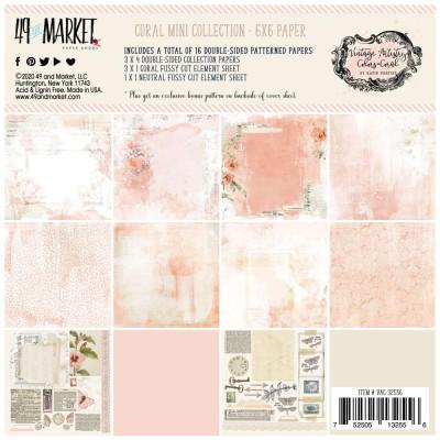 """49& Market - bloc de papier collection «Vintage Artistry Coral» 6 X 6"""" 16 feuilles"""