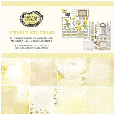 """49& Market - bloc de papier collection «Vintage Artistry Butter» 12 x 12"""" 4 feuilles"""