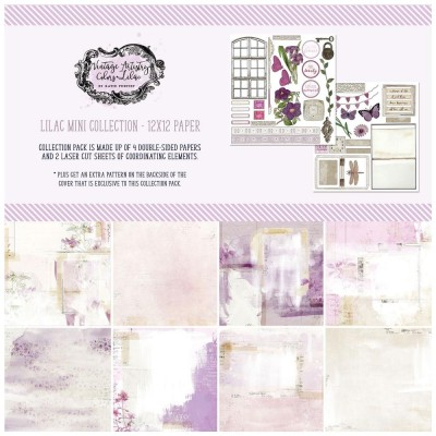 """49& Market - bloc de papier collection «Vintage Artistry Lilac» 12 x 12"""" 4 feuilles"""