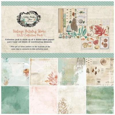 """49& Market - bloc de papier collection «Vintage Artistry Shore» 12 x 12"""" 4 feuilles"""