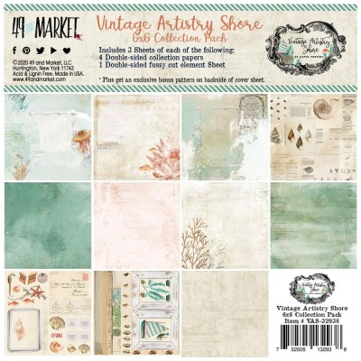 "49& Market - bloc de papier collection «Vintage Artistry Shore» 6 X 6"" 16 feuilles"