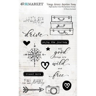49& Market - Estampes «Vintage Artistry Anywhere Stamp Set» 14 pièces