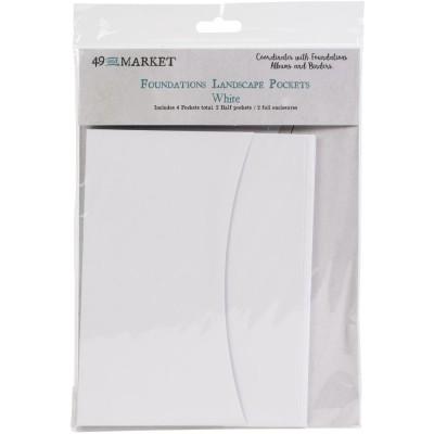 49 & Market - Pochette «Foundations Landscape Pockets» blanc 4 pcs