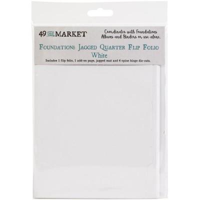 49 & Market - Pochette «Foundations Jagged Quarter Flip Folio» Blanc