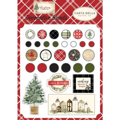 "Carta Bella - Brads décoratifs ""Christmas"" 25pcs"