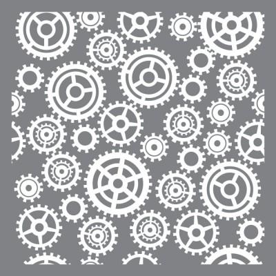 """DecoArt Americana - Stencil 12"""" X 12"""" modèle «Gears & Cogs»"""