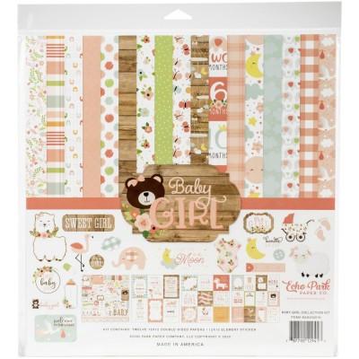 """Echo Park - Bloc de  papier double face """"Baby Girl""""  12"""" X 12""""   12 feuilles"""