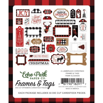 PRÉCOMMANDE Echo Park - Éphéméras «A Lumberjack Christmas Frames & Tags» 33 pcs