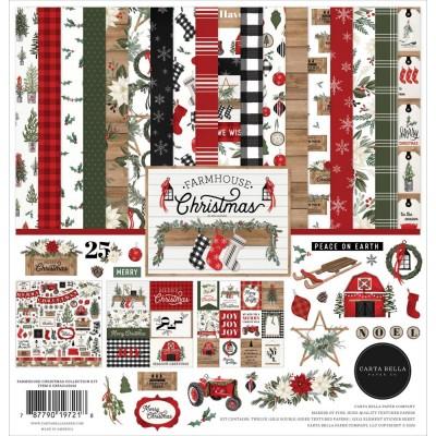 """Carta Bella - ensemble de papier recto-verso  «Farmhouse Christmas» 12"""" X 12"""""""