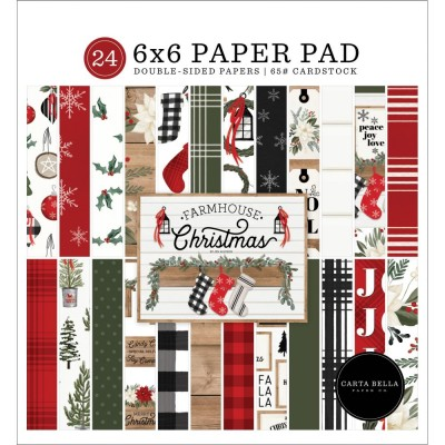 "Carta Bella - Bloc de  papier double face «Farmhouse Christmas»  6"" X 6""   24 feuilles"