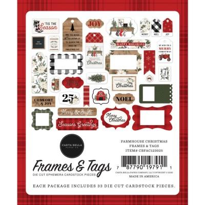 PRÉCOMMANDE Carta Bella - Éphéméra «Farmhouse Christma sFrames & Tags» ensemble 33 pcs