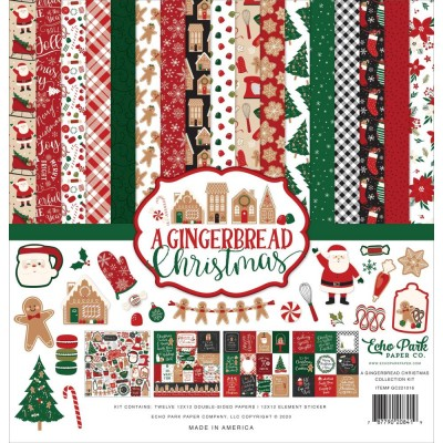 "Echo Park - Ensemble de papier «A Gingerbread Christmas» 12 ""X12"" recto-verso 12 feuilles / Pqt"