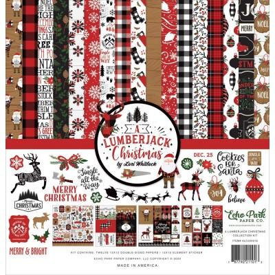 """PRÉCOMMANDE - Echo Park - Ensemble de papier «A Lumberjack Christmas» 12 """"X12"""" recto-verso 12 feuilles / Pqt"""