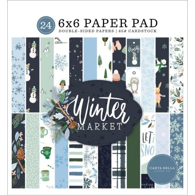 """Carta Bella - Bloc de  papier double face «Winter Market»  6"""" X 6""""   24 feuilles"""