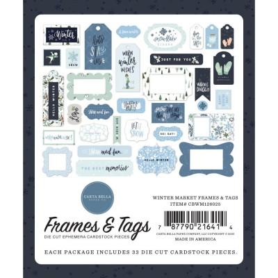 Carta Bella - Éphéméra «Winter Market Frames & Tags» ensemble 33pcs