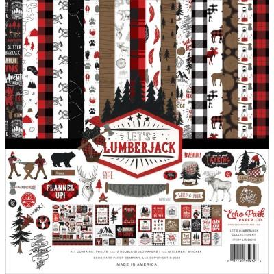 """Echo Park - Bloc de  papier double face «Let's Lumberjack»  12"""" X 12""""   12 feuilles"""