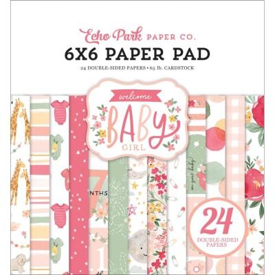 """Echo Park - Bloc de  papier double face «Welcome Baby Girl»  6"""" X 6""""   24 feuilles"""