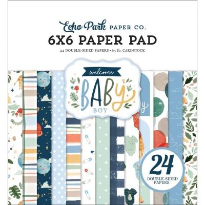 """Echo Park - Bloc de  papier double face «Welcome Baby Boy»  6"""" X 6""""   24 feuilles"""