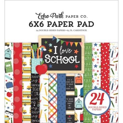 """Echo Park - Bloc de  papier «I love school»  6"""" X 6""""   24 feuilles"""