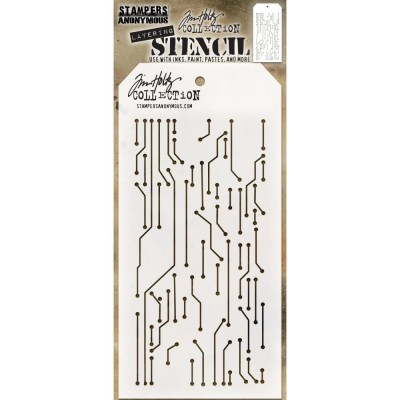 "Tim Holtz - Layered Stencil «Circuit» 4.125"" X 8.5"""