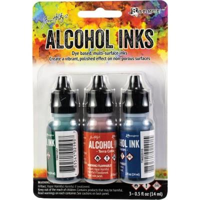 Tim Holtz - Ensemble «Alcohol Inks»  couleur «Bottle / Terra-Cotta / Denim»