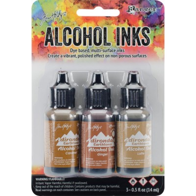 Tim Holtz - Ensemble «Alcohol Inks»  couleur Caramel / Ginger / Latte