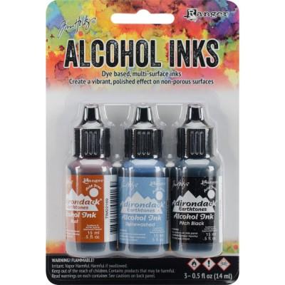 Tim Holtz - Ensemble «Alcohol Inks»  couleur «Rust / Stonewash / Pitch Black»